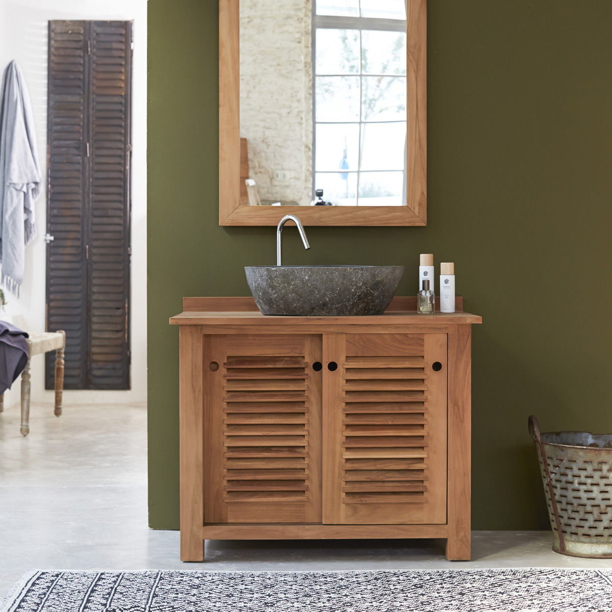 Meuble bois salle de bain pas cher